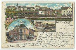 """Roodt Bahnhof & Café De La Gare Litho 1903 """"Bahnpost Luxemburg"""" RRR!! - Postales"""
