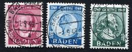Occupation En Allemagne, Bade N°48/50 Oblitérés ; Allierte Besetzung, Baden Michel N°47/49 Oblitérés ; Qualité Superbe - Zone Française