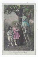 CPA - Carte Photo - Fillette - Enfant - Pommier - Pomme - échelle - Avec Envie Nous Les Contemplons - Scene & Paesaggi