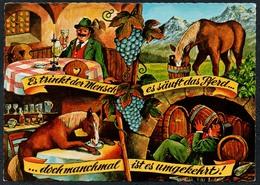 C7220 - TOP Scherzkarte Humor - Pferd Wein Kneipe - Humor
