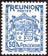 Réunion Obl. N° Taxe 21 - Armoiries De L'Ile Le 50c Bleu - Timbres-taxe