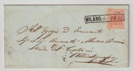 Lombardei & Venetien: Brief Mit 3X, 1852 - Levante-Marken
