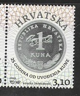 CROATIA, 2019, MNH, COINS, CURRNECIES, 25 YEARS SINCE THE INTRODUCTION OF THE KUNA, 1v - Coins