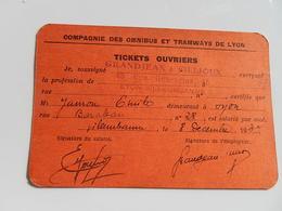 Compagnie Des Omnibus Et Tramway De LYON.Tickets OuvrierS 1937 VILLEURBANNE - Titres De Transport