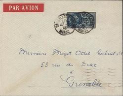 Maroc Rare YT Poste Aérienne 40 M Lyautey CAD Casabanca Bourse 27 9 35 Arrivée Marseille Gare Avion 28 IX 1935 - Covers & Documents