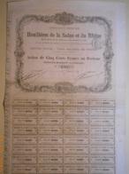 ACTION Cie Des HOUILLERES De La SAÖNE Et Du RHÖNE - 15 Juin 1873 - Mines
