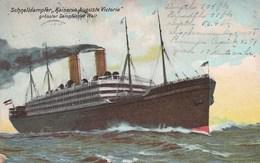 1909 German Card  Schnelldampfer Kaiserin Auguste Victoria Used To Detroit US German Sea PO Duplex - Postcards
