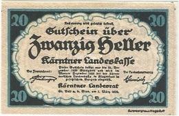 Austria (NOTGELD) 20 Heller Kärntner 1-3-1920 Kon 427 2  UNC - Austria