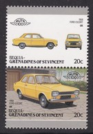2 TIMBRES NEUFS DE BEQUIA-GRENADINES OF ST-VINCENT - AUTOMOBILE FORD ESCORT, 1968, U.K. - Voitures