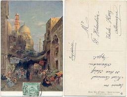 AK Kairo 1912, Künstler AK, Strasse In Cairo, Von Ägypten Nach Thale Im Harz - Kairo