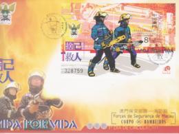 FIRE FIGHTING - MACAU - 2001 - FIRE BRIGADE SOUVENIR SHEET ON ILLUSTRATED FDC - Firemen