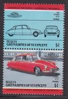 2 TIMBRES NEUFS DE BEQUIA-GRENADINES OF ST-VINCENT - AUTOMOBILE CITROËN DS19, 1955, FRANCE - Cars
