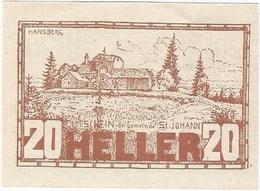 Austria (NOTGELD) 20 Heller Sankt Johann (Wimberg) 5-5-1920 Kon 894 A.b.2.5 Marrón UNC - Austria