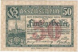 Austria (NOTGELD) 50 Heller Wien 3-12-1920 Kon 1183 II.b.a  UNC - Oesterreich
