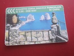 BIGLIETTO CORSA SINGOLA FUNICOLARE ONE WAY DI CAPRI - BILLET TICKET- ITALIA- ITALIE - Biglietti Di Trasporto
