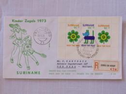 Surinam 1973 FDC Registered Cover To Holland - Child Welfare - Souvenir Sheet - Flower - Dog - Tennis - Surinam