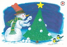 Postal Stationery - Snowman Decorating Christmas Tree - Red Cross 2009 - Suomi Finland - Åland - Postage Paid - Finlande