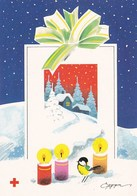 Postal Stationery - Candles Lighting - Great Tit - Winter Scene - Red Cross - Suomi Finland - Postage Paid - Finlande