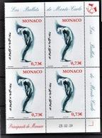 MONACO 2009  - BLOC DE 4 TP / Y.T. 2686 - NEUFS ** COINS DE FEUILLE / DATE - Unused Stamps