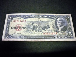 CUBA 5 Pesos 1958, Pick N°91 A, CUBA - Kuba