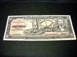 CUBA 10 Pesos 1958, Pick N°88 B, CUBA - Kuba