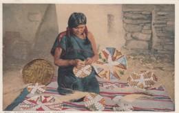 Hopi Basket Weaver, Native American Indian Craft, C1900s/10s Vintage Fred Harvey Postcard - Native Americans
