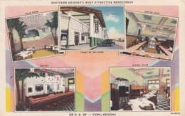 Yuma Arizona, Valley Cafe Coffee Shop C1930s Vintage Curteich Linen Postcard - United States