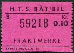 Norway HTS Ferry BÅT / BIL 0,10 Kr. SHIP/BUS Freight Parcel Stamp Fähre Schiff Paketmarke Frachtmarke Colis Bateau Norge - Bateaux