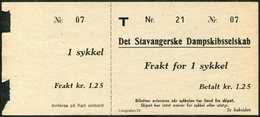 SHIP Norway Det Stavangerske Dampskibsselskab DSD Stavanger Shipping Co. Freight-parcel Stamp For 1 BICYCLE Sykkel Frakt - Bateaux