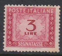 Italy PD 99 1947-54 Republic  Postage Due,watermark Flying Wheel,lire 3 Carmine,used - Postage Due