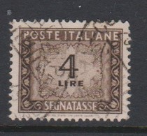 Italy PD 100 1947-54 Republic  Postage Due,watermark Flying Wheel,lire 4 Brown,used - Postage Due
