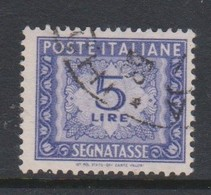 Italy PD 101 1947-54 Republic  Postage Due,watermark Flying Wheel,lire 5 Blue,used - Postage Due