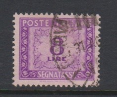 Italy PD 103 1947-54 Republic  Postage Due,watermark Flying Wheel,lire 8 Rose Violet,used - Postage Due