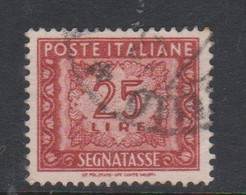 Italy PD 107  1947-54 Republic  Postage Due,watermark Flying Wheel,lire 25 Red Brown,used - 1878-00 Humbert I.