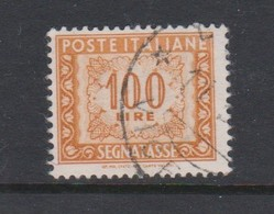 Italy PD 109  1947-54 Republic  Postage Due,watermark Flying Wheel,lire 100 Orange Yellow,used - Postage Due