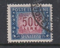 Italy PD 110 1947-54 Republic  Postage Due,watermark Flying Wheel,lire 500 Blue And Carmine,used - Postage Due
