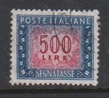 Italy PD 120  1955-81 Republic  Postage Due,watermark Stars,lire 500 Blue And Carmine,used - 1878-00 Humbert I