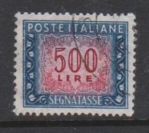 Italy PD 120  1955-81 Republic  Postage Due,watermark Stars,lire 500 Blue And Carmine,used - 1878-00 Umberto I