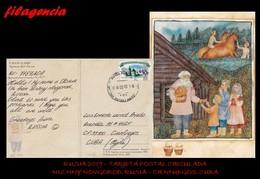 EUROPA. RUSIA. ENTEROS POSTALES. TARJETA POSTAL CIRCULADA 2019. NIZHNY NOVGOROD. RUSIA-CIENFUEGOS. CUBA. FOLKLORE RUSO - 1992-.... Fédération