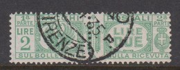 Italy PP 31 1927-32 King Victor Emanuel ,parcel Post, Lire 2 Green,Used - 1878-00 Humbert I.