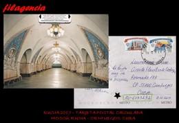 EUROPA. RUSIA. ENTEROS POSTALES. TARJETA POSTAL CIRCULADA 2017. MOSCÚ. RUSIA-CIENFUEGOS. CUBA. METRO DE MOSCÚ - 1992-.... Fédération