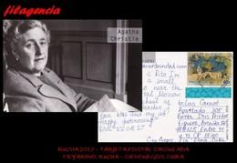 EUROPA. RUSIA. ENTEROS POSTALES. TARJETA POSTAL CIRCULADA 2017. FRYARINO. RUSIA-CIENFUEGOS. CUBA. LAGOS. AGATHA CHRISTIE - 1992-.... Fédération