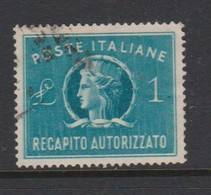 Italy Republic AD 8 1947 Authorized Delivery Stamp 1 Lira Green ,used - 6. 1946-.. Republic