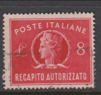 Italy Republic AD 9 1947 Authorized Delivery Stamps,8 Lire Red,used - 6. 1946-.. Republic
