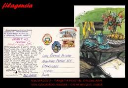 EUROPA. RUSIA. ENTEROS POSTALES. TARJETA POSTAL CIRCULADA 2017. VOLGOGRADO. RUSIA-CIENFUEGOS. CUBA. ARQUITECTURA. OSOS - 1992-.... Fédération