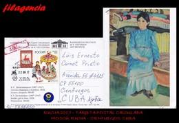 EUROPA. RUSIA. ENTEROS POSTALES. TARJETA POSTAL CIRCULADA 2017. MOSCÚ. RUSIA-CIENFUEGOS. CUBA. ARTESANÍA. PINTURAS - 1992-.... Fédération