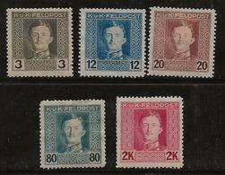 Autriche-Hongrie 1915-1917 N°Y.T. :  51,55,57,63 Et 65 Sans Gomme - 1850-1918 Empire