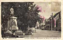 GRANVILLE  Le Cours Joinville ,le Monument Aux Morts Et La Nouvelle Poste  RV - Granville