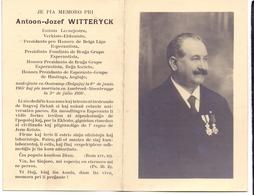 Doodsprentje Schrijver Uitgever Stichter Esperanto Groep Brugge - Antoon Witteryck - Oostkamp 1865 - Assebroek 1934 - Décès