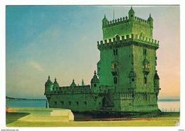 LISBOA:  TORRE  DE  BELEM  -  SELLO  REMOVIDO  -  PARA  SUIZA  -  FG - Castillos